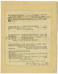 """Autographs:Statesmen, Roger Sherman Partly Printed Document Signed """"Roger Sherman aJudge/ of the Supr Court,"""" one page, 6.25"""" x 7.5"""", affixed..."""