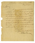 "Autographs:Statesmen, Alexander Hamilton Manuscript Letter Signed ""A Hamilton,""one page, 7.25"" x 9"". Treasury Department, May 17, 1790. A ""...(Total: 1 Item)"