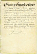 "Autographs:Non-American, Emperor Franz Joseph I Manuscript Document Signed ""FranciscusJosephus"" in Latin, one page, 9.5"" x 14"". September 30, 19...(Total: 1 Item)"