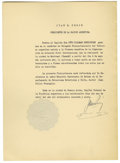 "Autographs:Non-American, Juan Peron Typed Document Signed ""Juan Peron"" in Spanish asPresident of Argentina, one page, 9.75"" x 13.5"". Buenos Aire...(Total: 1 Item)"