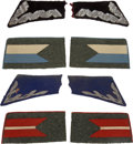 Militaria:Insignia, Poland: Four Sets of Pre-1939 Era Polish Military Collar Tabs, including: a pair of embroidered wire tabs with a blue wool b...