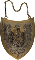 Militaria:Insignia, Poland: Silver Military Presentation Shield. The shield isbeautifully engraved on the front with a Polish Eagle upon which...