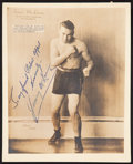 Boxing Collectibles:Autographs, Jimmy McLarnin Signed Photograph....