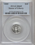 Modern Bullion Coins: , 2000 P$10 Tenth-Ounce Platinum Eagle MS69 PCGS. PCGS Population(1423/2). NGC Census: (1508/290). Mintage: 34,027. Numismed...