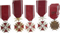 Militaria:Insignia, Poland: Five Crosses of Merit, including: one Cross of Merit, First Class, with swords; one Cross of Merit, Second Cla...