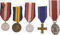 "Militaria:Insignia, Poland: Five Polish World War One Medals, including: Two SilverCommemorative Medals for the Polish Legion, 1914, ""Marsz... (Total:5 )"