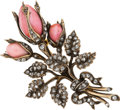 Estate Jewelry:Brooches - Pins, Antique Diamond, Enamel, Gold Brooch, Albert Chambin, French. ...
