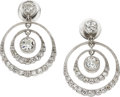 Estate Jewelry:Earrings, Art Deco Diamond, Platinum Earrings. ...