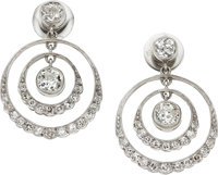 Art Deco Diamond, Platinum Earrings