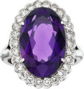 Estate Jewelry:Rings, Amethyst, Diamond, Platinum Ring, circa 1950. ...