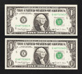 Error Notes:Ink Smears, Fr. 1917-E $1 1988A Federal Reserve Web Notes. Two ConsecutiveExamples. Gem Crisp Uncirculated.. ... (Total: 2 notes)
