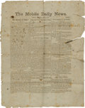 Miscellaneous:Newspaper, [Civil War] The Mobile Daily News Newspaper....