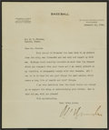 Baseball Collectibles:Others, 1928 Kenesaw Mountain Landis Signed Typed Letter. ...