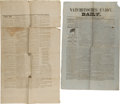 Miscellaneous:Newspaper, Two Civil War-Era Newspapers including:...