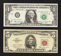Matching Serial Numbers: Fr. 1536* $5 1963 Legal Tender Star Note. Fine-Very Fine; Fr. 1908-H* $1 1974 Federal Reserve S...