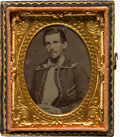 Photography:Tintypes, Ninth Plate Civil War Period Tintype of Member of Sailing Club....