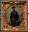 Photography:Tintypes, Unusual Sixth plate Tintype of a Federal Artilleryman...
