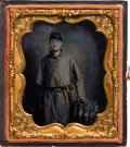 Photography:Ambrotypes, Sixth Plate Ambrotype of Federal Infantryman with Bowie Knife....