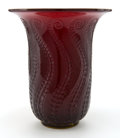 Glass, R. LALIQUE CASED RED GLASS MEDUSE VASE . Circa 1930 . Engraved: Lalique. 6-1/2 inches high (16.5 cm). ...