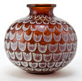 Art Glass:Lalique, R. LALIQUE AMBER GLASS GRENADE VASE WITH WHITE PATINA .Circa 1930 . Engraved: R. Lalique, France . 4-3/4 in...