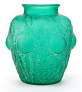 Glass, R. LALIQUE GREEN GLASS DOMREMY VASE . Circa 1926. Engraved: R. Lalique, France, 979. 8-1/2 inches high (21.6...