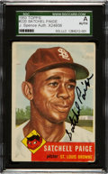 Baseball Cards:Singles (1950-1959), Signed 1953 Topps Satchell Paige #220 JSA/SGC Authentic. ...