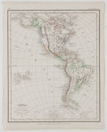Antiques:Posters & Prints, P. Rousset. Engraved Map of North and South America with Hand-Coloring, from Atlas Complet. L. Hachette, 1856. M...