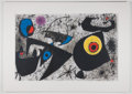 "Antiques:Posters & Prints, Joan Miro. Original Color Lithograph from Derriere le Miroir. Measures approximately 12"" x 19"" inches. Fold through ..."