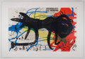 "Antiques:Posters & Prints, Joan Miro. Original Color Lithograph from Derriere leMiroir. Measures approximately 15"" x 22"" inches. Two foldsthr..."