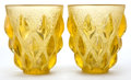 Art Glass:Lalique, PAIR OF R. LALIQUE YELLOW GLASS RAMPILLON VASES . Circa1927. Engraved: R. Lalique, France . 5 inches high (...(Total: 2 Items)