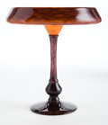 Glass, CHARLES SCHNEIDER GLASS COUPE BIJOU . Orange to violet glass coupe with applied violet stem and base, circa 1924. Engraved: ...