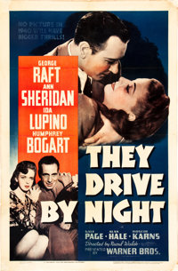 """They Drive by Night (Warner Brothers, 1940). One Sheet (27"""" X 41"""")"""