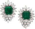 Estate Jewelry:Earrings, Emerald, Diamond, Platinum Earrings. ...