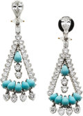 Estate Jewelry:Earrings, Turquoise, Diamond, Platinum Earrings. ...
