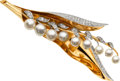Estate Jewelry:Brooches - Pins, Retro Cultured Pearl, Diamond, Platinum-Topped Gold Brooch. ...