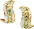 Estate Jewelry:Earrings, Peridot, Diamond, Gold Earrings. ... (Total: 2 Items)