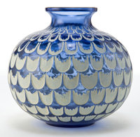 R. LALIQUE BLUE GLASS GRENADE VASE WITH WHITE PATINA Circa 1930 Engraved:
