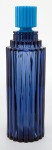 Glass, R. LALIQUE BLUE GLASS PERFUME DISPLAY BOTTLE FOR WORTH FRAGRANCES . Circa 1950. Molded: Lalique, Made in France, Worth ...