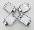 Art Glass:Lalique, SET OF FOUR HANS TURNWALD METAL AND GLASS NAPKIN RINGS FOR LALIQUE. Circa 1980. Marks: Hans Turnwald, Design Registered, ...(Total: 4 Items)