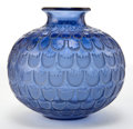 Glass, R. LALIQUE BLUE GLASS GRENADE VASE WITH WHITE PATINA . Circa 1930 . Stenciled: R. Lalique . Engraved: Fran...