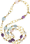 Estate Jewelry:Necklaces, Multi-Stone, Cultured Pearl, Gold Necklace, Pat Saling. ...