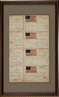 Military & Patriotic:Civil War, Sheet of Four Uncut Receipts from the Cooper Shop Volunteer Refreshment Saloon...