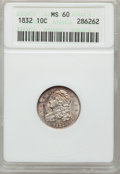 Bust Dimes: , 1832 10C MS60 ANACS. NGC Census: (0/158). PCGS Population (6/111).Mintage: 522,500. Numismedia Wsl. Price for problem free...