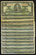 Canadian Currency: , BC-21c $1 1937 Six Examples. BC-21d $1 1937 Six Examples. ...(Total: 12 notes)