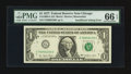 Error Notes:Error Group Lots, Fr. 1909-G $1 1977 Federal Reserve Note. PMG Gem Uncirculated 66EPQ; Fr. 1912-E $1 1981A Federal Reserve Note. PCGS Apparent ...(Total: 2 notes)