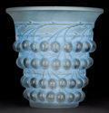 Art Glass:Lalique, R. LALIQUE CLEAR AND FROSTED GLASS MONTMORENCY VASE WITHBLUE PATINA . Circa 1930 . Engraved: R. Lalique, Fran...