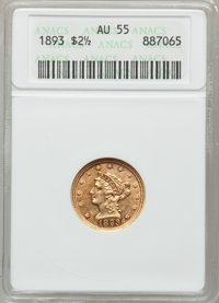 1893 $2 1/2 AU55 ANACS. NGC Census: (10/772). PCGS Population (20/681). Mintage: 30,000. Numismedia Wsl. Price for probl...
