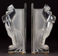 Glass, PAIR OF R. LALIQUE CLEAR AND FROSTED GLASS COQ HOUDAN BOOKENDS . Circa 1929 . Engraved: R. Lalique, France ... (Total: 2 Items)