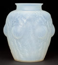 Art Glass:Lalique, R. LALIQUE OPALESCENT GLASS DOMREMY VASE . Circa 1926.Engraved: R. Lalique, France . 8-1/2 inches high (21....