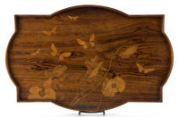 GALLE MARQUETRY TRAY Inlaid wooden tray with floral and butterfly motif, circa 1900 Marks: Galle (